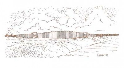 "An ""artist's impression"" of Fort Desjarlais from the pamphlet ""Archaeology on the Souris River."" The original pen-and-ink drawings prepared for the newspaper series have been lost."